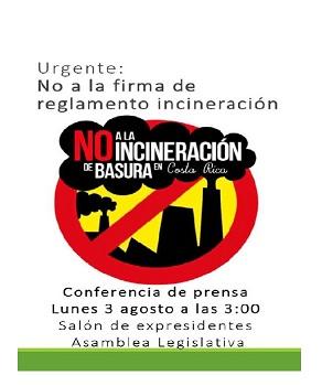 Conferencia de prensa contra firma de reglamento incineracion