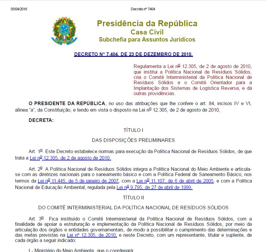 Decreto PNRS